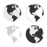 Γήινα διανυσματικά εικονίδια που τίθενται στα διαφορετικά χρώματα Στοκ Εικόνες