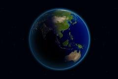 γήινη νύχτα ημέρας της Ασίας Στοκ Εικόνες