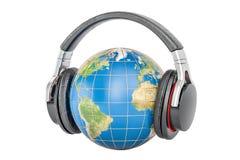 Γήινη σφαίρα με τα ακουστικά, τρισδιάστατη απόδοση διανυσματική απεικόνιση