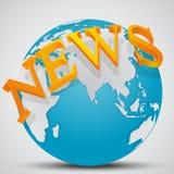 Γήινη σφαίρα με τις ειδήσεις λέξης απεικόνιση αποθεμάτων