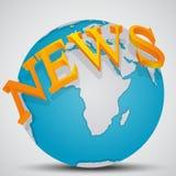 Γήινη σφαίρα με τις ειδήσεις λέξης ελεύθερη απεικόνιση δικαιώματος