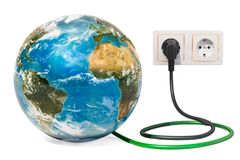 Γήινη σφαίρα με το βούλωμα δύναμης στην ηλεκτρική υποδοχή Πράσινη ενέργεια ελεύθερη απεικόνιση δικαιώματος