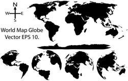 Γήινη σφαίρα με το διανυσματικό εικονογράφο λεπτομέρειας παγκόσμιων χαρτών Στοκ Εικόνες