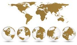 Γήινη σφαίρα με το διανυσματικό εικονογράφο λεπτομέρειας παγκόσμιων χαρτών Στοκ Φωτογραφίες