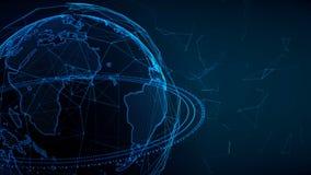 Γήινη σφαίρα που περιστρέφεται με το πλέγμα Σφαιρικές ψηφιακές συνδέσεις Δίκτυο και ανταλλαγή των στοιχείων όσον αφορά το πλανήτη διανυσματική απεικόνιση