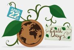 Γήινη υπενθύμιση με τα φύλλα, τις αμπέλους και τις κάρτες για τη γήινη ημέρα, διανυσματική απεικόνιση Στοκ εικόνα με δικαίωμα ελεύθερης χρήσης