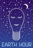 Γήινη ώρα 60 λεπτά από το φως Λαμπτήρας ύπνου σε ένα υπόβαθρο του έναστρου ουρανού και του φεγγαριού διανυσματική απεικόνιση