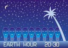 Γήινη ώρα Πολλοί λαμπτήρες, που σύρονται από ένα άσπρο περίγραμμα, τον ύπνο ενάντια στον έναστρο ουρανό, το φεγγάρι και το φοίνικ απεικόνιση αποθεμάτων