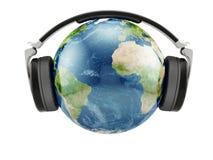 Γήινος πλανήτης με τα ακουστικά Στοκ εικόνα με δικαίωμα ελεύθερης χρήσης