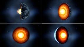 Γήινος πυρήνας εσωτερική δομή με τα γεωλογικά στρώματα τρισδιάστατη απόδοση Στοκ Εικόνα