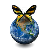 Γήινος πλανήτης με την πεταλούδα, συμπεριλαμβανομένων των στοιχείων που εφοδιάζονται από NAS Στοκ Εικόνες