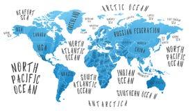 Γήινος χάρτης με το όνομα των χωρών διανυσματική απεικόνιση