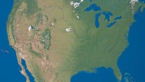 Γήινο περιστρεφόμενο ζουμ στις ΗΠΑ φιλμ μικρού μήκους