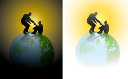 γήινο χέρι βοήθειας την ανθρωπότητα απεικόνιση αποθεμάτων