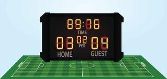 Γήπεδο ποδοσφαίρου και πίνακας βαθμολογίας ελεύθερη απεικόνιση δικαιώματος