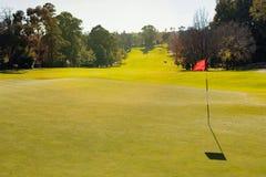 Γήπεδο του γκολφ που βάζει την πράσινη τρύπα με τη σημαία στοκ φωτογραφία