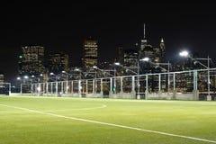 Γήπεδα ποδοσφαίρου μπροστά από τον ορίζοντα NYC στοκ φωτογραφία με δικαίωμα ελεύθερης χρήσης