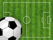 Γήπεδο ποδοσφαίρου και σφαίρα Στοκ φωτογραφία με δικαίωμα ελεύθερης χρήσης