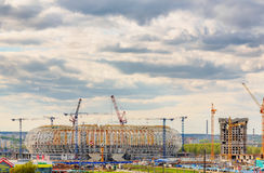 Γήπεδο ποδοσφαίρου χώρων της Μορντβά κάτω από την κατασκευή στοκ φωτογραφία με δικαίωμα ελεύθερης χρήσης