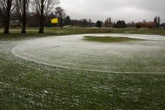 Γήπεδο του γκολφ που κλείνουν λόγω του χειμερινών χιονιού και των ισχυρών ανέμων Στοκ Εικόνες
