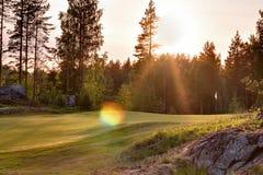 Γήπεδο του γκολφ πράσινο στο σκανδιναβικό δασικό τοπίο Στοκ εικόνες με δικαίωμα ελεύθερης χρήσης