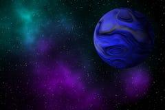 Γίγαντας exoplanet στο υπόβαθρο σχεδίου γαλαξιών Στοκ Εικόνες