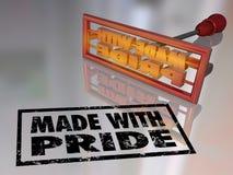 Γίνοντας με το μαρκάροντας σίδηρο υπερηφάνειας υπερήφανο προϊόν Mark Handcraft Απεικόνιση αποθεμάτων