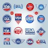 Γίνοντας στα ΑΜΕΡΙΚΑΝΙΚΑ εικονίδια Αμερικανός έκανε Σύνολο διανυσματικών εικονιδίων, γραμματόσημα, σφραγίδες, εμβλήματα, ετικέτες απεικόνιση αποθεμάτων