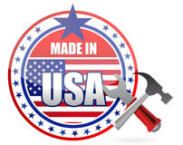 Γίνοντας στην απεικόνιση σφραγίδων κουμπιών αμερικανικών εργαλείων Στοκ Εικόνα