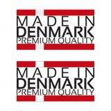 Γίνοντας στο εικονίδιο της Δανίας, αυτοκόλλητη ετικέττα εξαιρετικής ποιότητας με τα δανικά χρώματα ελεύθερη απεικόνιση δικαιώματος