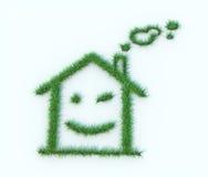γίνοντα σπίτι σύμβολο χλόη&sig Στοκ Εικόνα