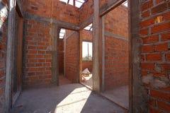 Γίνοντα τοίχος τούβλο κτηρίου και οικοδόμησης Στοκ Φωτογραφία