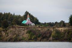 Γίνοντη ξύλο εκκλησία Tipical στο νησί Chiloe, Χιλή Παταγωνία Στοκ Φωτογραφία
