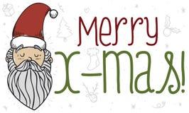 Γαλήνιος Άγιος Βασίλης στο ύφος Doodle που σκέφτεται για το γεγονός Χριστουγέννων, διανυσματική απεικόνιση ελεύθερη απεικόνιση δικαιώματος