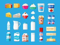 Γαλακτοκομικά προϊόντα καθορισμένα Συλλογή των τροφίμων γάλακτος διανυσματική απεικόνιση