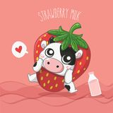Γαλακτοκομική αγελάδα γάλακτος φραουλών πολύ χαριτωμένη διανυσματική απεικόνιση