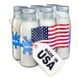 Γαλακτοκομικό ποτό από την ΑΜΕΡΙΚΑΝΙΚΗ έννοια Συσκευασία των μπουκαλιών γάλακτος γυαλιού Στοκ εικόνα με δικαίωμα ελεύθερης χρήσης