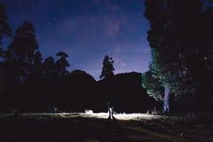 Γαλακτώδεις τρόπος, δέντρα και σκιαγραφία του ατόμου με το φως στα βουνά επιτραπέζια χρήση φωτογραφιών νύχτας τοπίων εγκαταστάσεω Στοκ εικόνα με δικαίωμα ελεύθερης χρήσης