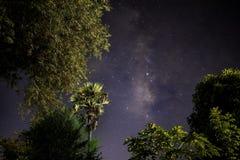 Γαλακτώδης γαλαξίας τρόπων με τα αστέρια και διαστημική σκόνη στο terraced τομέα ρυζιού στοκ εικόνες με δικαίωμα ελεύθερης χρήσης