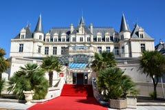 Γαλλία, Aquitaine, Αρκασόν, κάστρο και χαρτοπαικτική λέσχη στοκ εικόνα με δικαίωμα ελεύθερης χρήσης