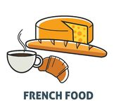 Γαλλικά γαλακτοκομείο προγευμάτων κουζίνας της Γαλλίας τροφίμων και προϊόν αρτοποιίας διανυσματική απεικόνιση