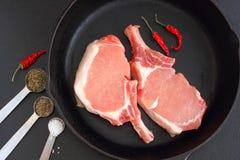 Γαλλικές μπριζόλες χοιρινού κρέατος ξενοδοχείων Στοκ φωτογραφία με δικαίωμα ελεύθερης χρήσης