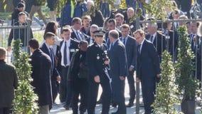 Γαλλικοί Πρόεδρος του Emmanuel Macron και Γενικός Γραμματέας Thorbjorn Jagland απόθεμα βίντεο