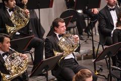 Γαλλικοί φορείς κέρατων στην ορχήστρα στοκ εικόνες