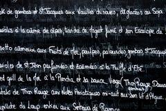 Γαλλικός κατάλογος επιλογής Στοκ εικόνα με δικαίωμα ελεύθερης χρήσης