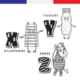 Γαλλικό αλφάβητο Xylophone, γιαούρτι, ζέβες Διανυσματικοί γράμματα και χαρακτήρες Στοκ Φωτογραφίες
