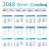 2018 γαλλικό αμερικανικό ημερολόγιο Καναδός Στοκ Εικόνες