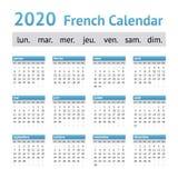 2020 γαλλικό ευρωπαϊκό ημερολόγιο στοκ εικόνα