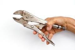 γαλλικό κλειδί πιθήκων εκμετάλλευσης χεριών Στοκ φωτογραφία με δικαίωμα ελεύθερης χρήσης