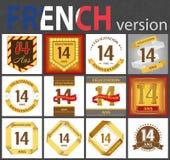 Γαλλικό σύνολο αριθμού 14 πρότυπα διανυσματική απεικόνιση